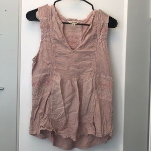 Lucky Brand eyelet peasant tank top